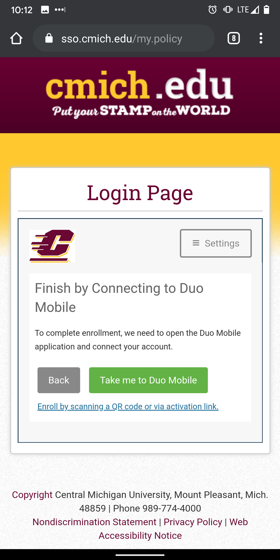 Click complete setup to go to the Duo Mobile app for setup