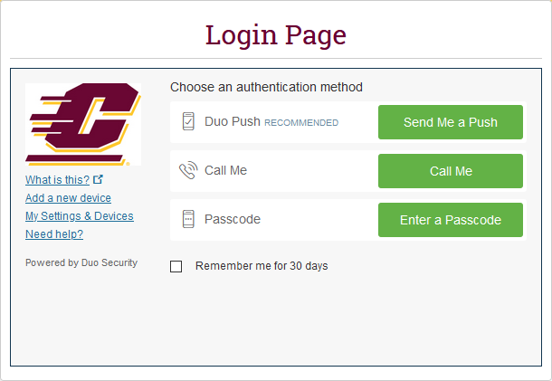 Login page for Duo MFA with options for a push, a call, or a passcode